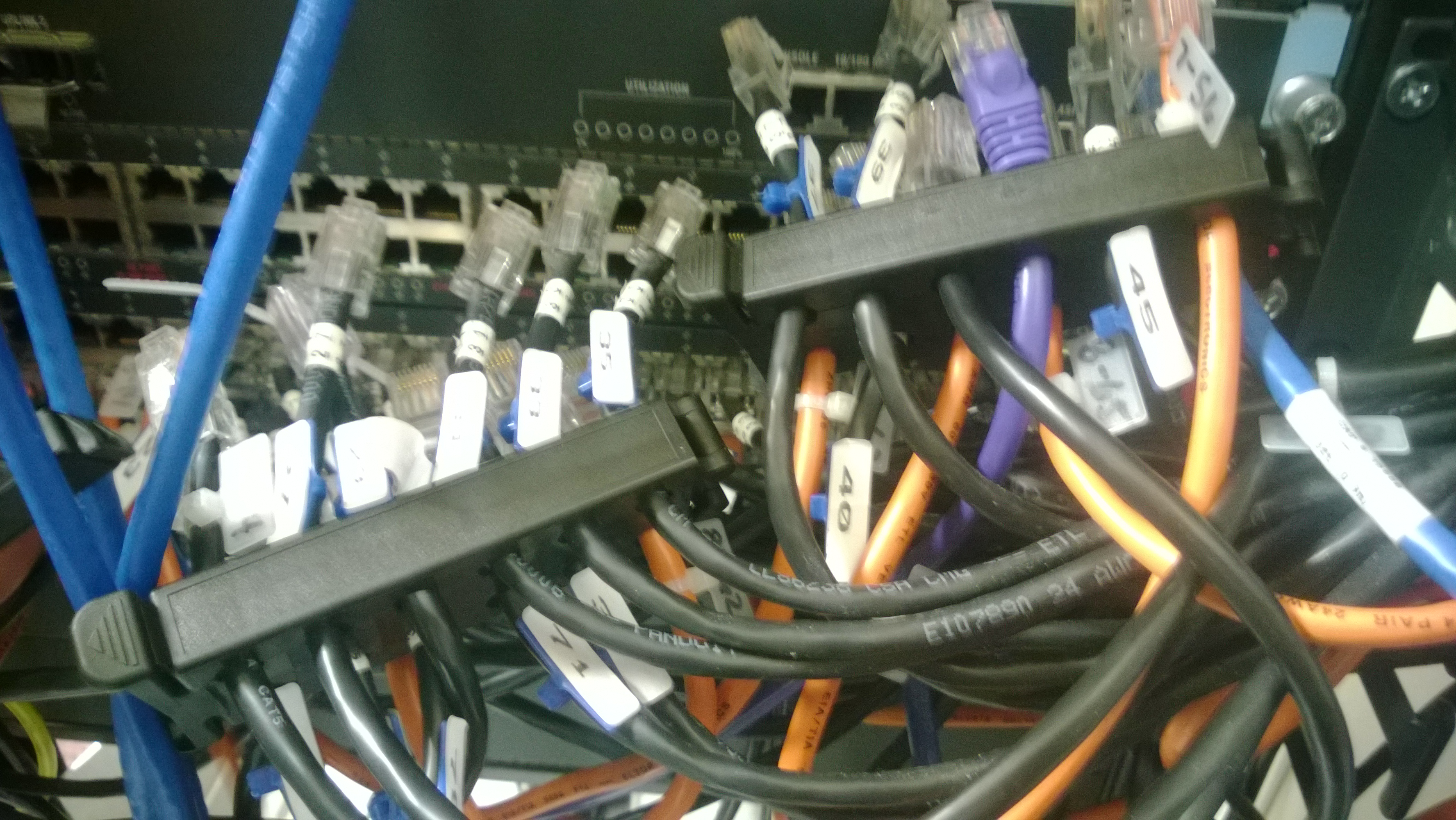 Not all closets were messy. This photo came from a closet that had  relatively pristine Cat6 cabling. Even with the bulk of that cable when  compared to Cat5, ...