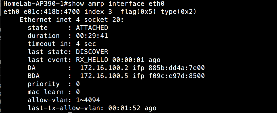 Show AMRP Interface Eth0