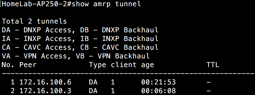Show AMRP Tunnel - Both clients on AP250